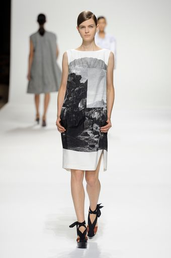 Dries Van Noten Spring 2012 Landscape Print Dress In Grayscale - Lyst