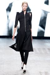 Gareth Pugh Spring 2012 Black Long Zipped Cut Out Coat With High Collar in Black - Lyst