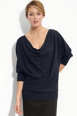 Halogen Back Button Drape Neck Sweater (petite) - Lyst
