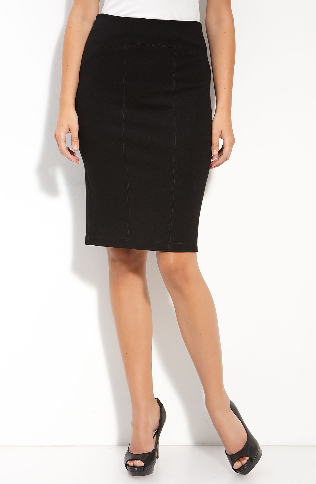 ponte knit pencil skirt in black lyst