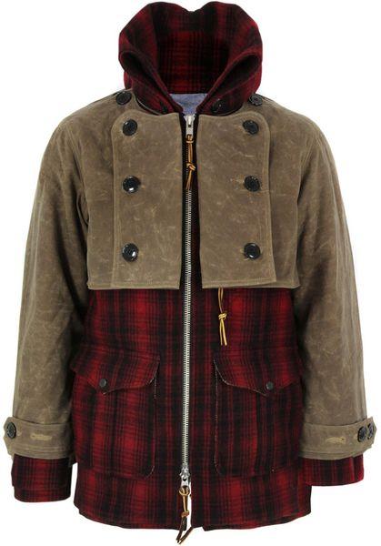 Monitaly Double Mackinaw Red Amp Black Plaid Wool Coat In