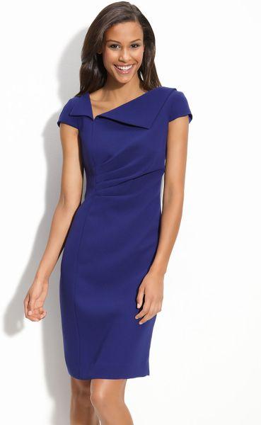 Tahari by arthur s levine asymmetric cap sleeve dress in for Nice dresses to wear to weddings