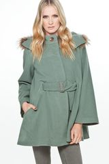 Tsumori Chisato Wool Cashmere Cape Coat in Green