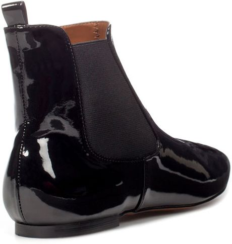 zara flat patent leather elasticated ankle boot in black