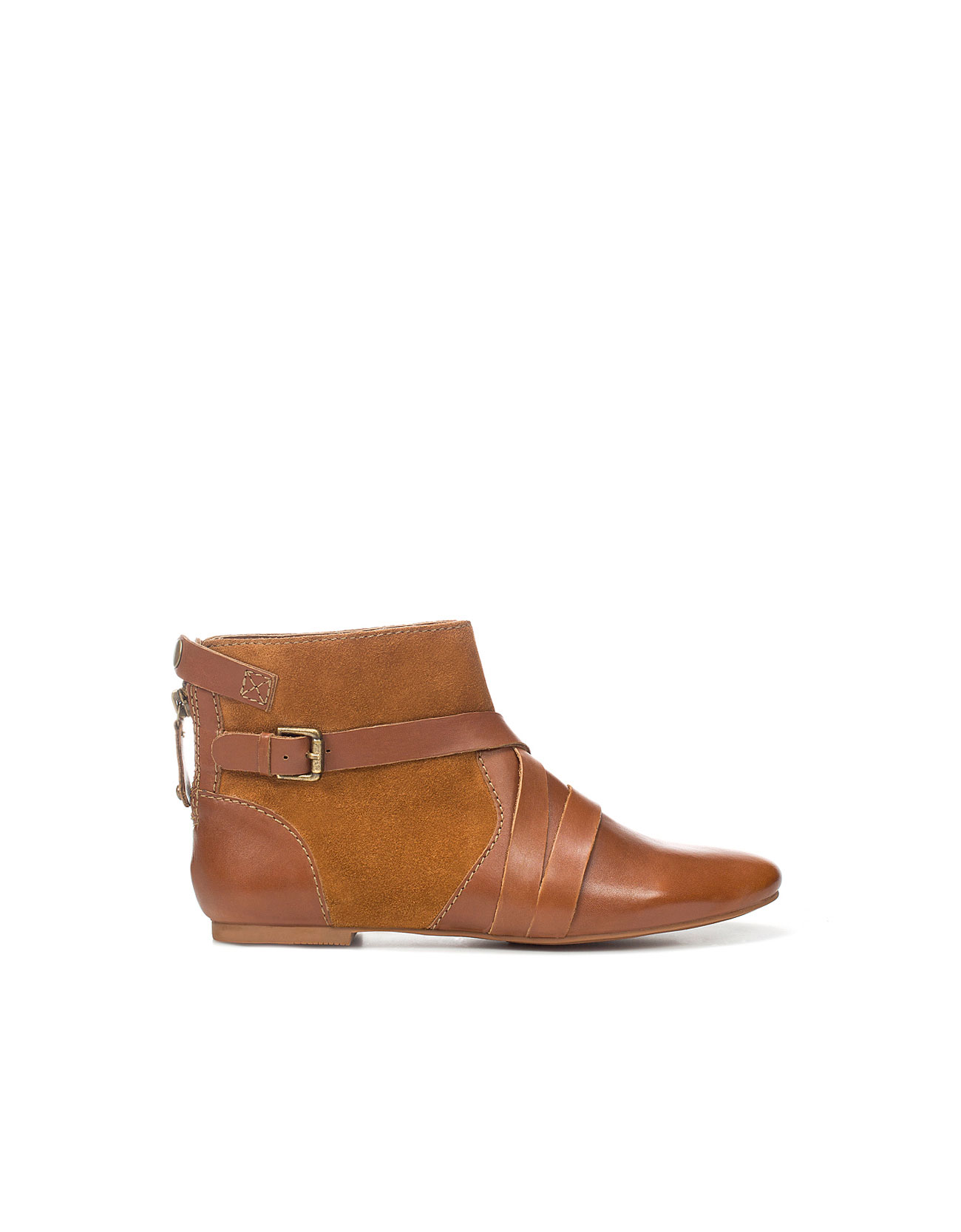 zara combined flat ankle boot in brown lyst