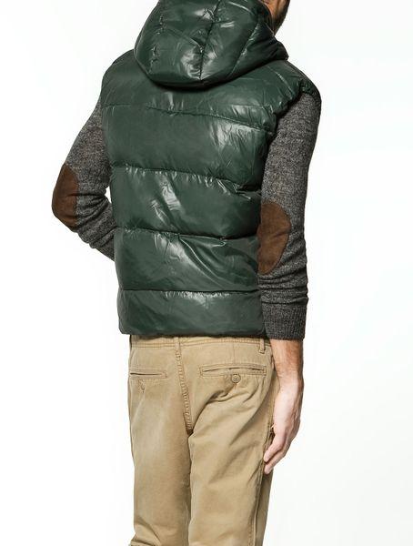 Zara Hooded Sleeveless Puffer Jacket In Green For Men Lyst