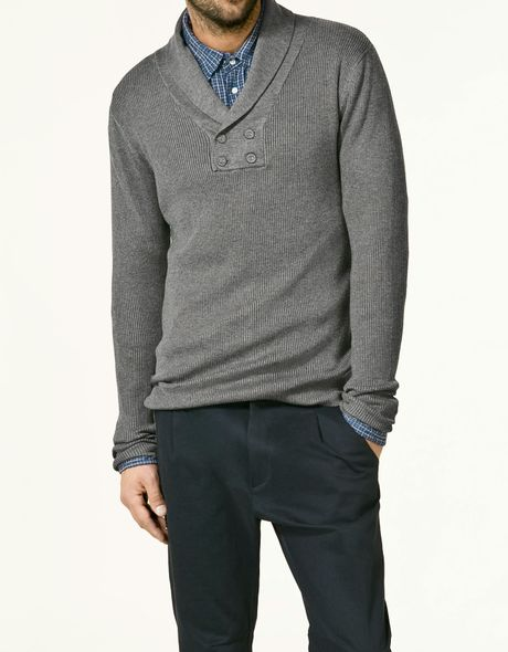 Zara Tuxedo Collar Sweater in Gray for Men (grey) | Lyst