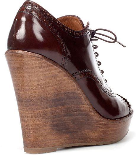 zara wedge brogue ankle boot in black pinks lyst