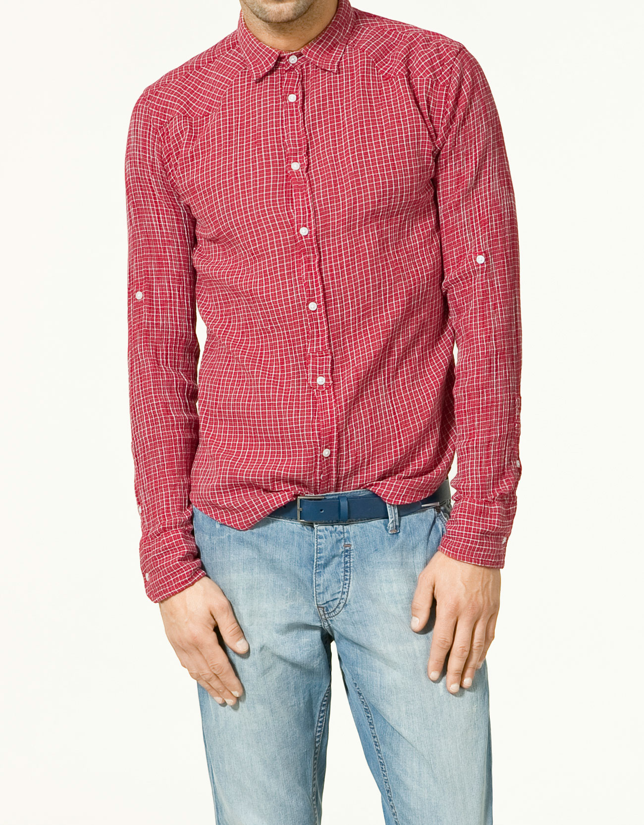 Zara checked cheesecloth shirt in red for men lyst for Zara mens shirts sale