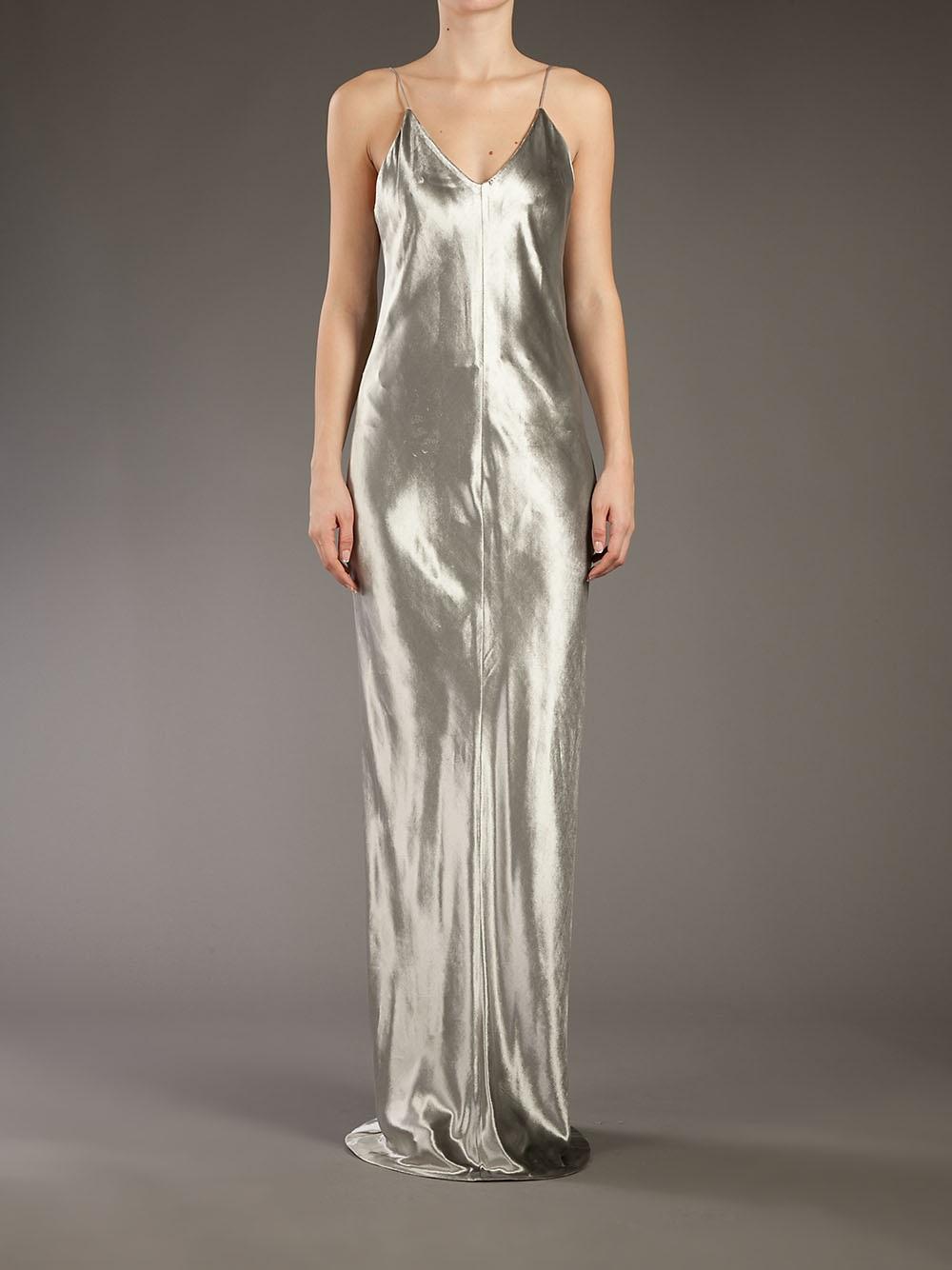 T By Alexander Wang Metallic Evening Dress In Silver Grey