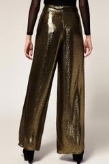 Asos Palazzo Trousers In Gold Metallic Jacquard in Gold - Lyst