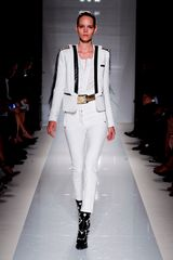 Balmain Spring 2012 Skintight High Waisted Cropped Pants In White