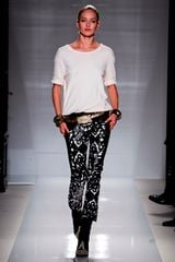 Balmain Spring 2012 White Cropped Skinny Pants With Black Leather Applique