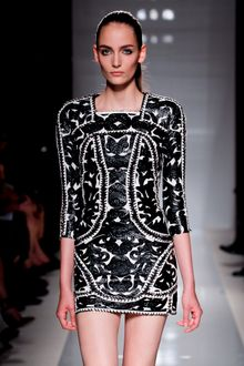 Balmain Spring 2012 White 3/4 Sleeve Skintight Mini Dress With Black Leather Applique And Embroidery  - Lyst