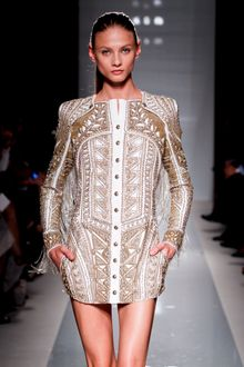 Balmain Spring 2012 Gold Embroided Mini Dress With Fringed Sleeves - Lyst