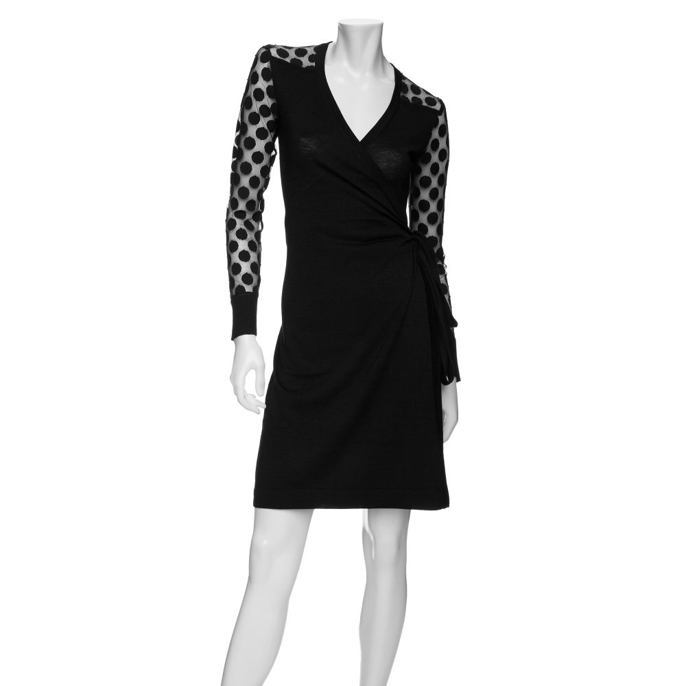 Diane Von Furstenberg Polka Dot Sleeve Wrap Dress In Black