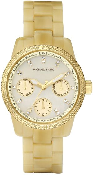 Michael Kors Mini Horn Acrylic Watch in Gold (cream) - Lyst