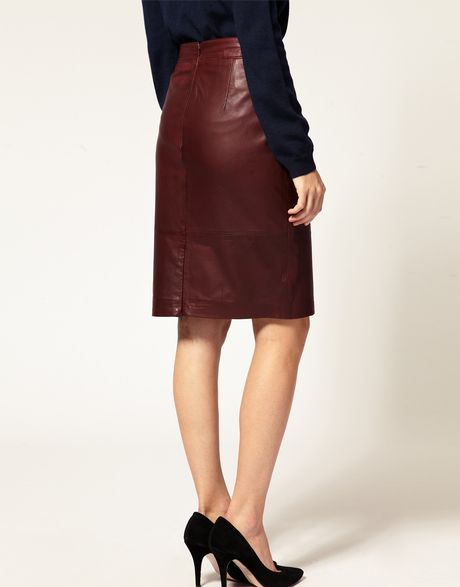 whistles leather skirt in purple wine lyst