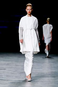 Rick Owens Spring 2012 Bright White Square-Neck Gathered-Waist Cape  - Lyst