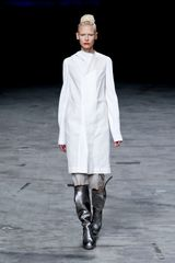 Rick Owens Spring 2012 White Long Coat with Asymmetric Detailed Collar in White - Lyst