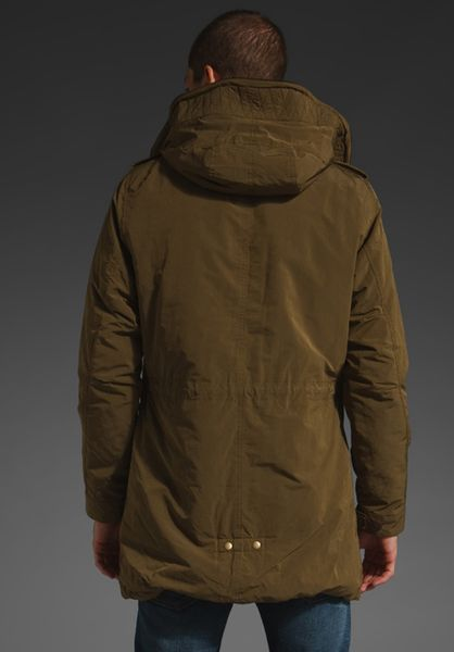 scotch soda hooded parka in green for men olive lyst. Black Bedroom Furniture Sets. Home Design Ideas