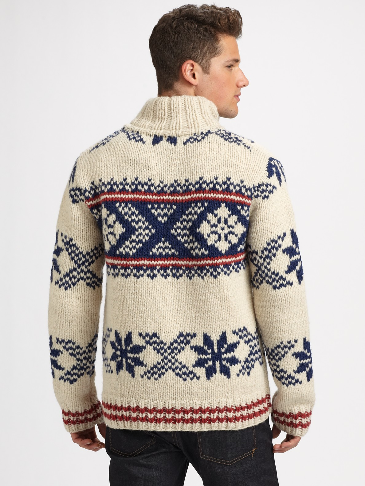 Hand Knitting Designs Sweaters For Men : Lyst scotch soda hand knit wool sweater in white for men