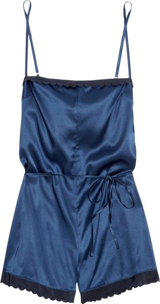 Stella Mccartney Sam Partying Stretch-silk Playsuit in Blue - Lyst