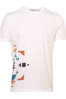 Topman White Side Pattern Crew Tee - Lyst