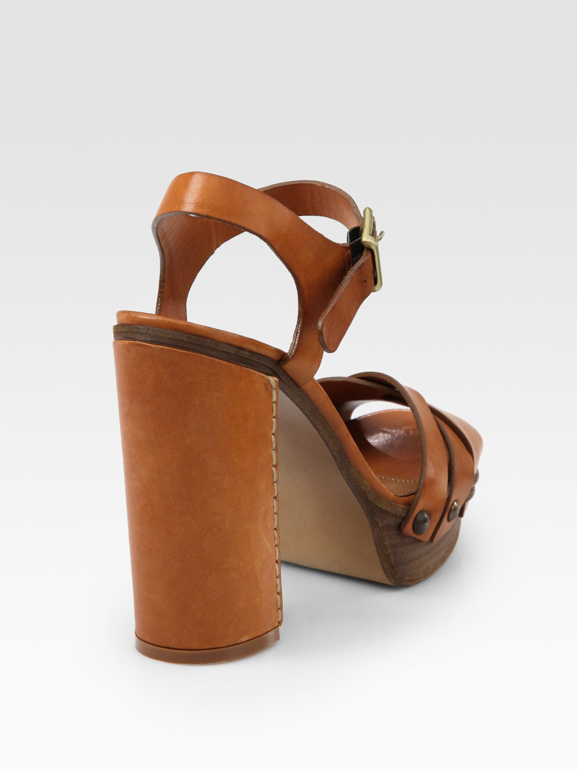 495656fcc1497e Lyst - Chloé Leather Wooden-sole Platform Sandals in Brown
