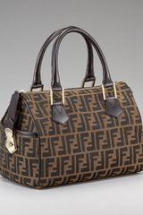 Fendi Medium Zucca Canvas Boston Bag, Tobacco - Lyst