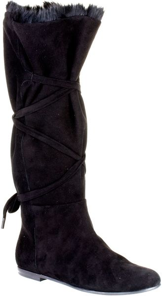 vionnet fur lined suede boot in black lyst
