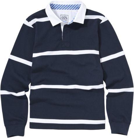John Lewis Men Single Stripe Rugby Shirt Navy In Blue For
