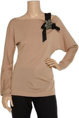 Alberta Ferretti Embellished Wool Sweater in Beige (denim) - Lyst