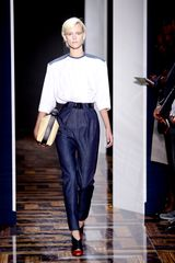 Balenciaga Spring 2012  Denim Pants Belted To The Waist, Pleated Through The Thigh - Lyst