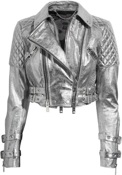 Burberry Prorsum Metallic Quilted Leather Biker Jacket In
