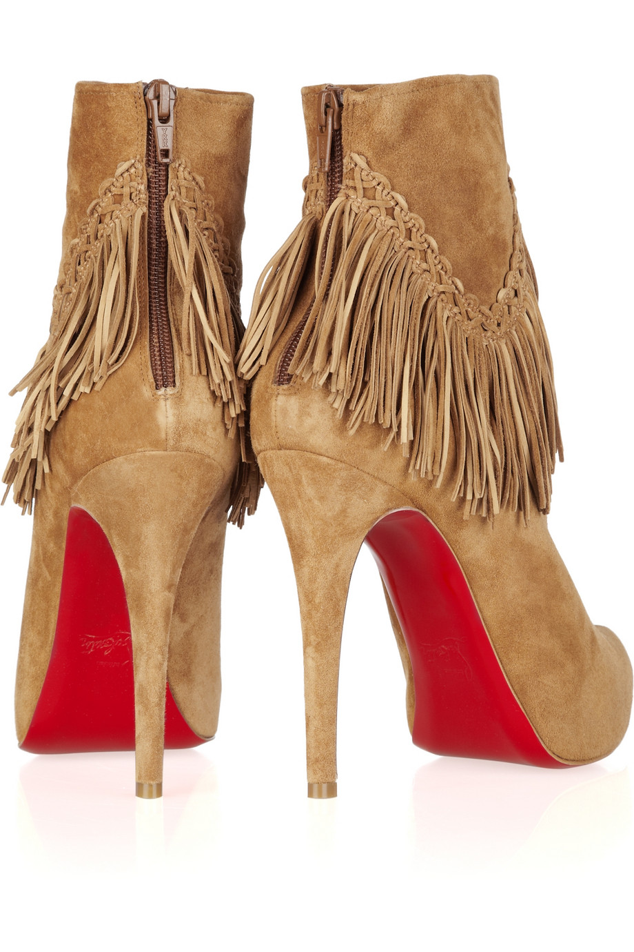 christian louboutin rom 120 fringed suede ankle boots
