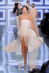Dior Spring 2012 Gazar Strapless Dress with Asymetrical Sheer Skirt
