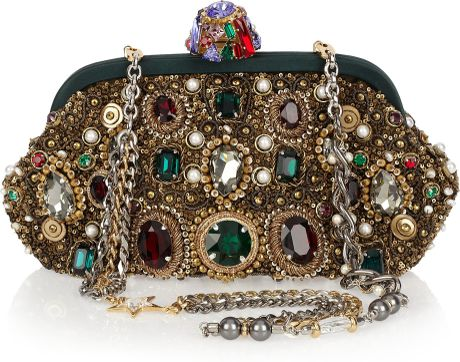 Dolce & Gabbana Jewel And Pearl-Embellished Clutch in Multicolor (pearl) - Lyst