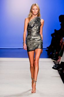 Isabel Marant Spring 2012 Metallic Pewter Weaved One-Shoulder Mini Dress - Lyst