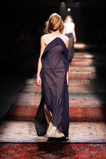 Maison Martin Margiela Spring 2012 Nude And Navy Deconstrucetd Sleeveless Gown - Lyst
