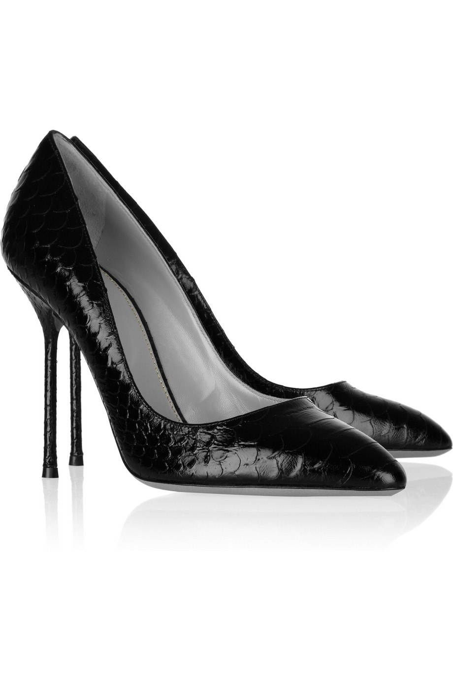 Sergio Rossi Embossed Leather Peep-Toe Pumps clearance ebay explore online YONlxI