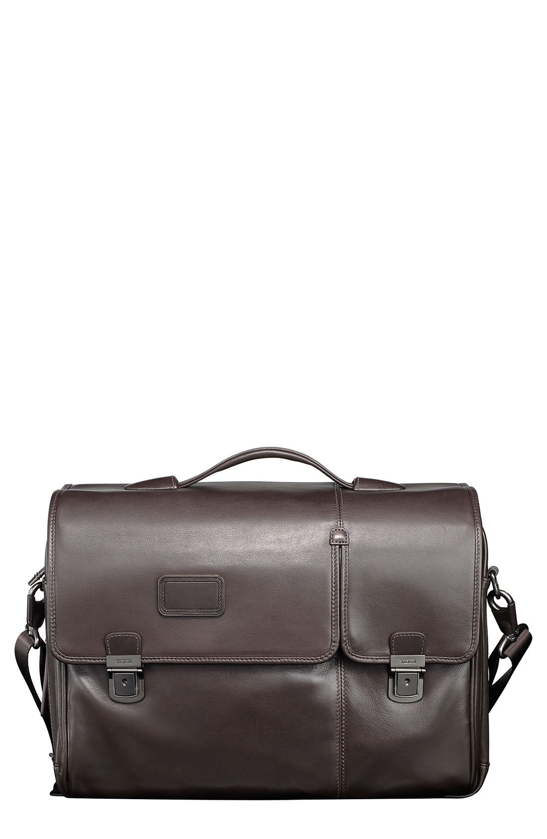Tumi Alpha Expandable Leather Briefcase In Brown For Men