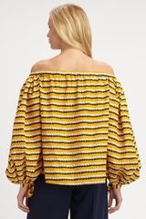 Yves Saint Laurent Offtheshoulder Cotton Blouse in Yellow (black) - Lyst