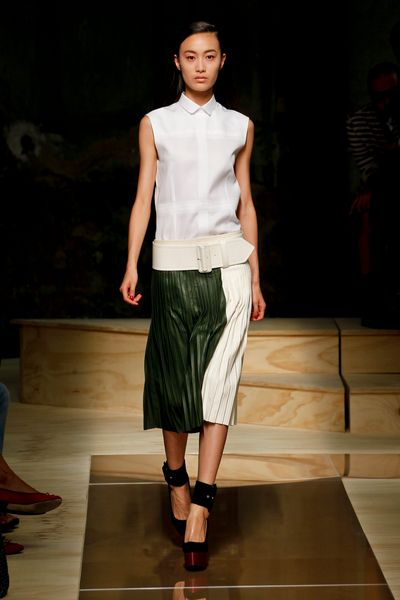 Celine Spring 2012 TwoTone Knife Pleated Midi Skirt  in Green - Lyst