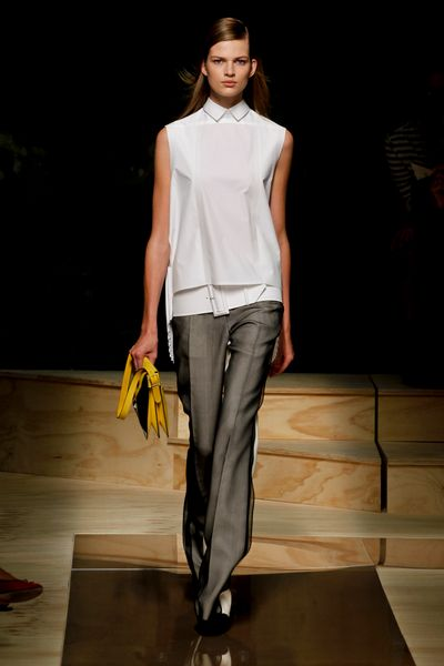 Celine Spring 2012 Sleeveless Collared Shirt with Watteau Back in White - Lyst