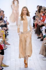 Chloé Spring 2012 Beige & White Long Sleeve Blouse - Lyst