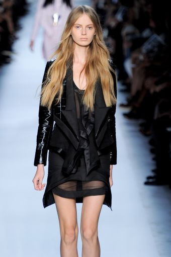 Givenchy Spring 2012 Black Jacket With Sharp Detailed Lapel & Leather Sleeves - Lyst