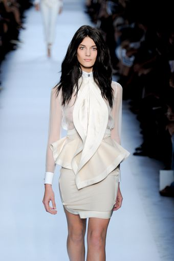 Givenchy Spring 2012 Peplum Mini Dress with Undulating Satin Trimmed Lapel - Lyst