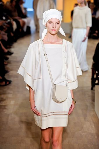Hermes Spring 2012 White Layered Sleeve Dress With Fagoted Hems - Lyst