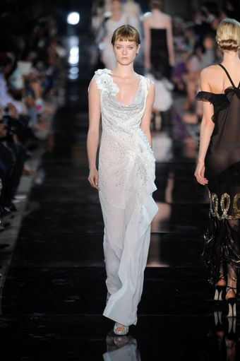 John Galliano Spring 2012 Bias Cut Sheer White Gown With Silver Embroidery  - Lyst